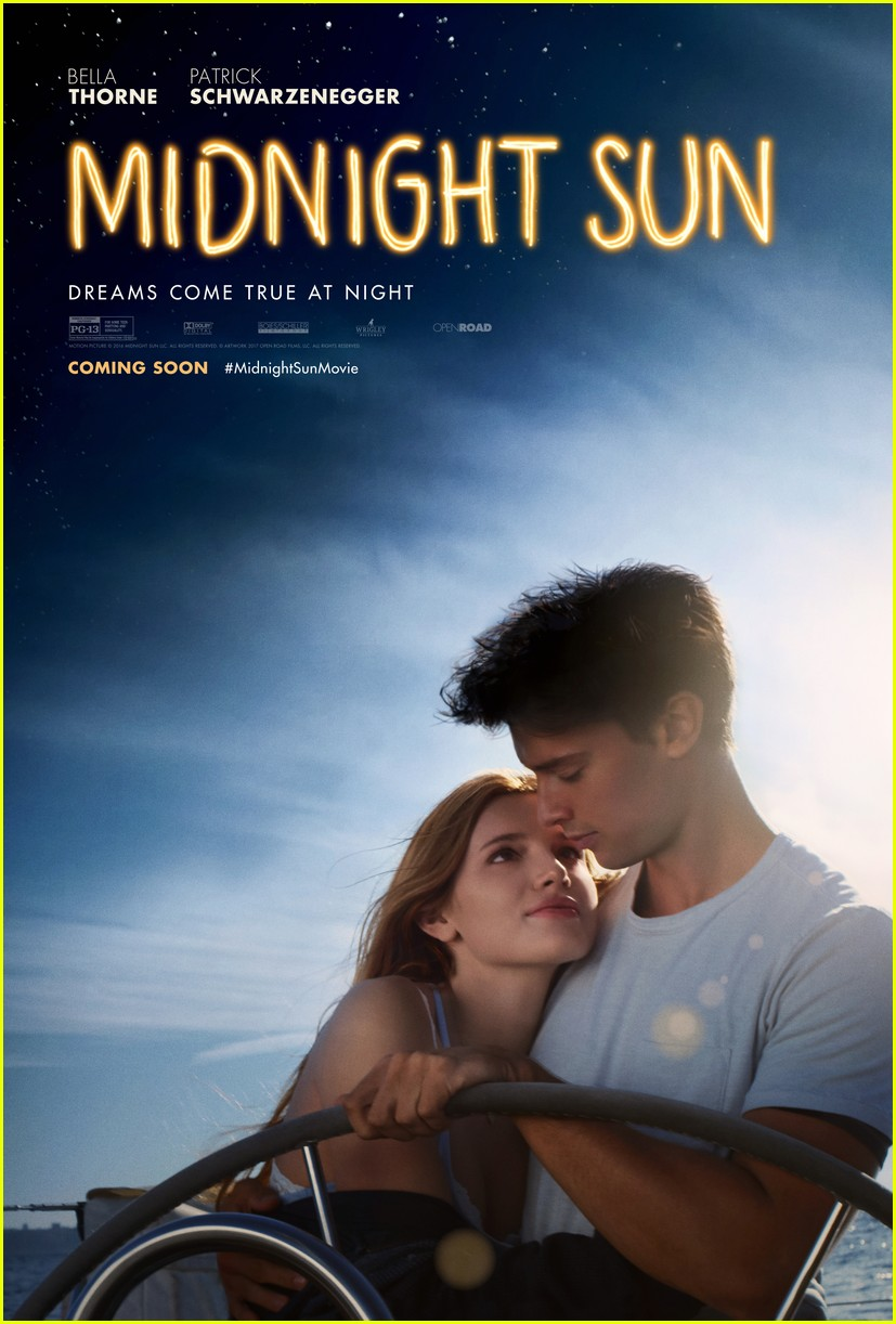 bella thorne and patrick schwarzeneggers midnight sun gets romantic poster